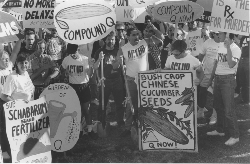 ACT UP Los Angeles protests the lack of research funding for alternative medications, including Compund Q. 1989.