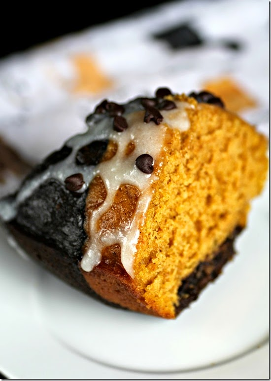 Pumpkin Chocolate Bundt Cake with Cream Cheese Glaze 3