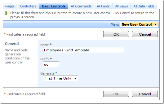 New User Control 'Employees_GridTemplate' in Code On Time Designer