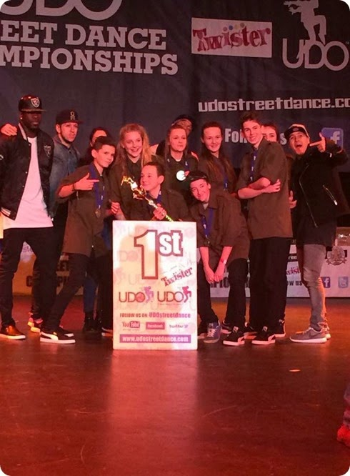 XCELL street dance crew with trophy in Blackpool