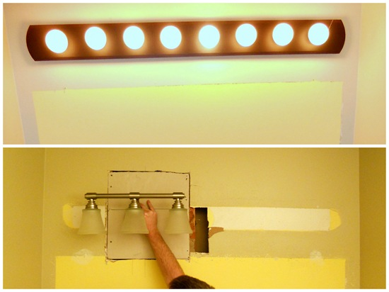 An Easy Way To Hang A Light Fixture Between Studs - Replacing bathroom light fixture