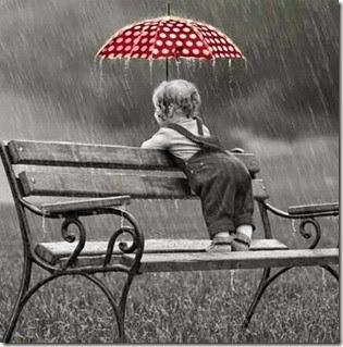Polka dotted umbrella