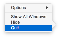 Yosemite Quit in Mac OS Dock