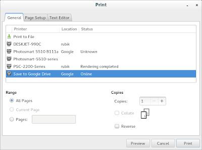 Google Cloud Print in Gnome 3.12