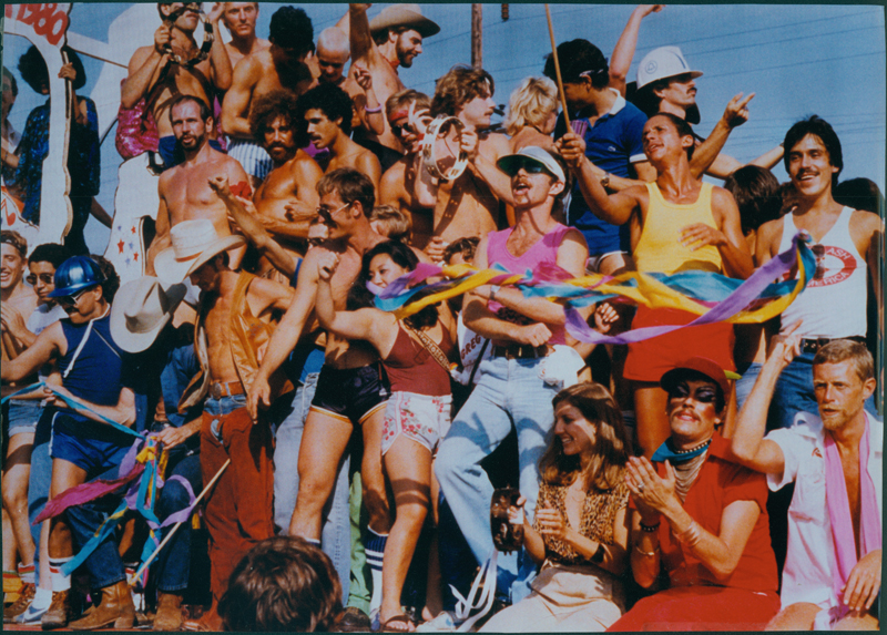 People on a float in a Los Angeles Christopher Street West (CSW) pride parade. 1980.