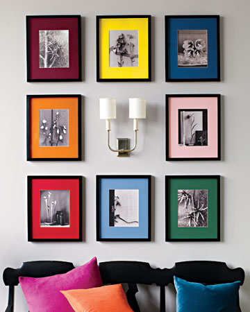 Add pop to a collection of black-and-white prints by using mats in a rainbow of colors.