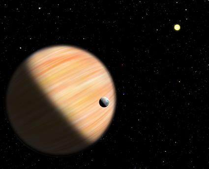 ilustração de um exoplaneta massivo