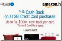 SBI Credit card offer: Get 5% Cashback on Rs. 2500 at Amazon.in