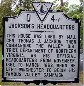Jackson's Headquarters Marker Q-4f  City of Winchester, VA