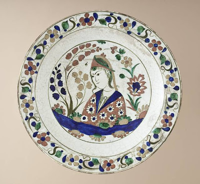 Plate Iran, Tabriz region Plate, early 17th century Ceramic; Vessel, Fritware, underglaze-painted, 2 3/4 x 13 3/4 in. (6.99 x 34.93 cm) The Nasli M. Heeramaneck Collection, gift of Joan Palevsky (M.73.5.380) Art of the Middle East: Islamic Department.