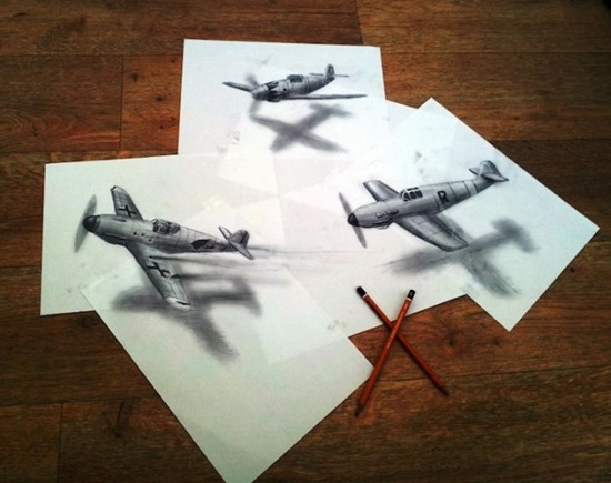 airplanes anamorphic drawing