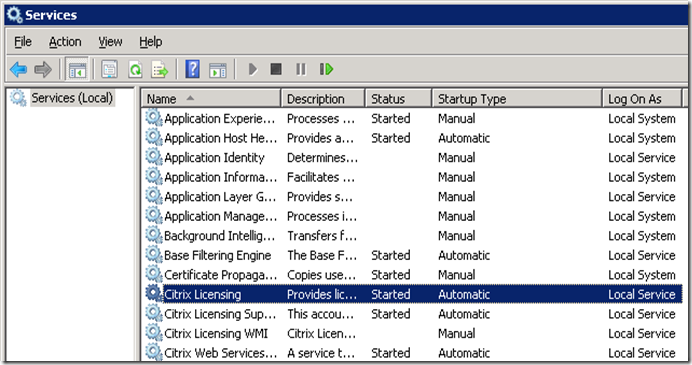 Citrix Licensing Automatic Start