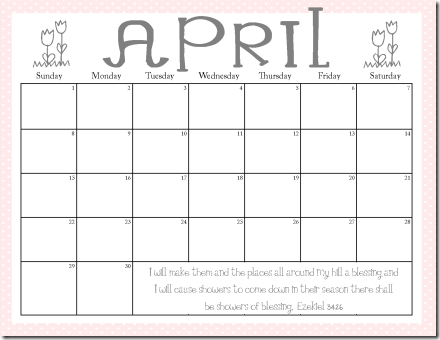 Calendar April 2012 pink and grey