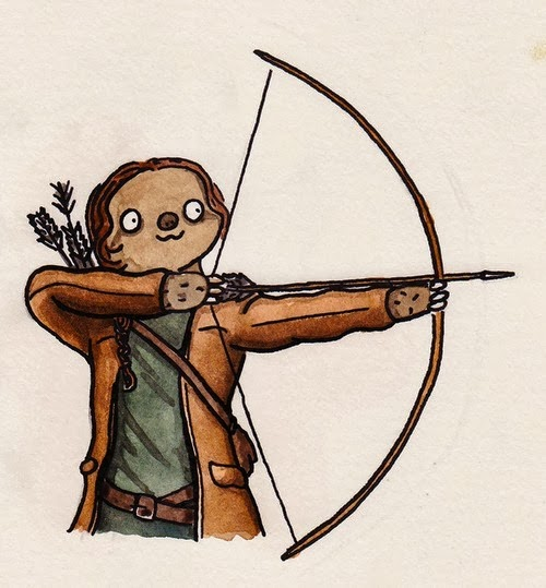 Katniss Sloth by Shitty Watercolour