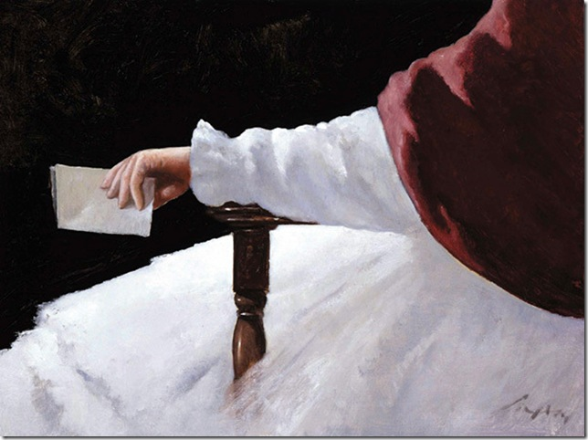 Julio Larraz -La_Porpuesta_2001_oil_on_canvas_23_75_x_31_5