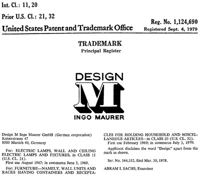 Design M Ingo Maurer trademark registration
