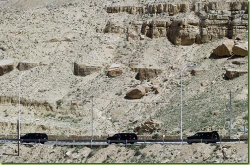bo's motorcade to the ruins of Petra