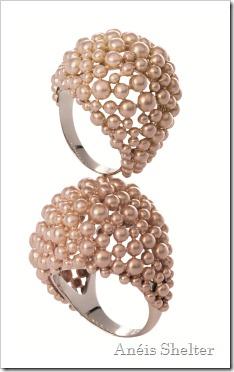 Anéis de ouro rosé fosco com parte interna em Ouro Nobre polido
