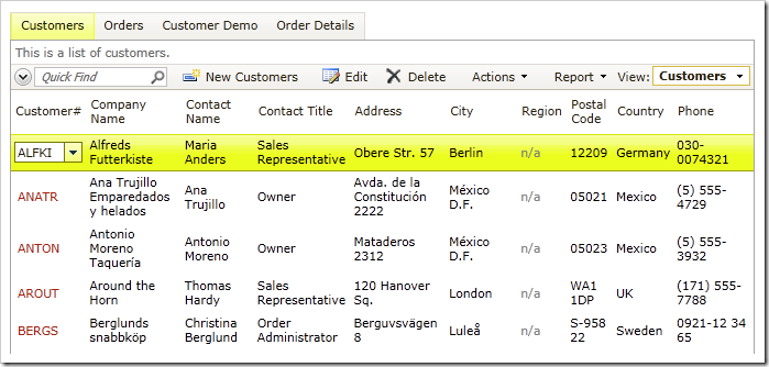 Customers grid view without Action Column in Code On Time web application