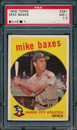 1959 Topps 381 Mike Baxes double variation