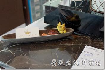 台南-綠帕克咖啡館。結帳櫃台前有名片,還有一隻可愛的小貓咪。