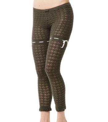#661 Lux wool pointelle leggings l military