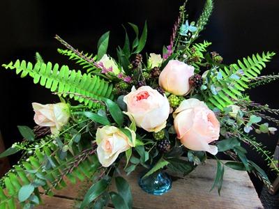 garden rose compote centerpiece