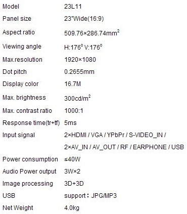 KTC 23L11 LED TV Specs