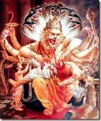 Narasimhadeva killing Hiranyakashipu