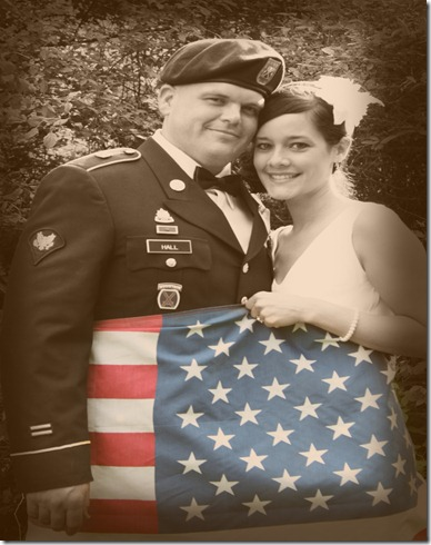 couple flag sepia with color