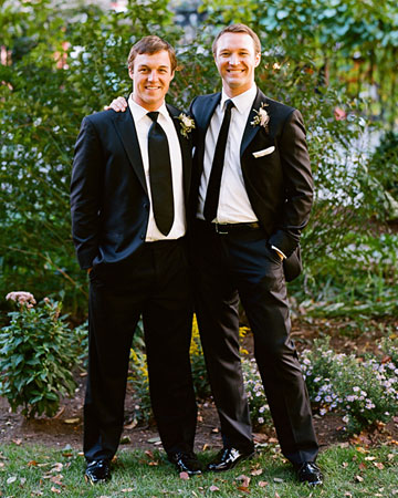 This groom and his best man sported the same black suit but chose different ties -- one skinny, one wide -- to set them apart.