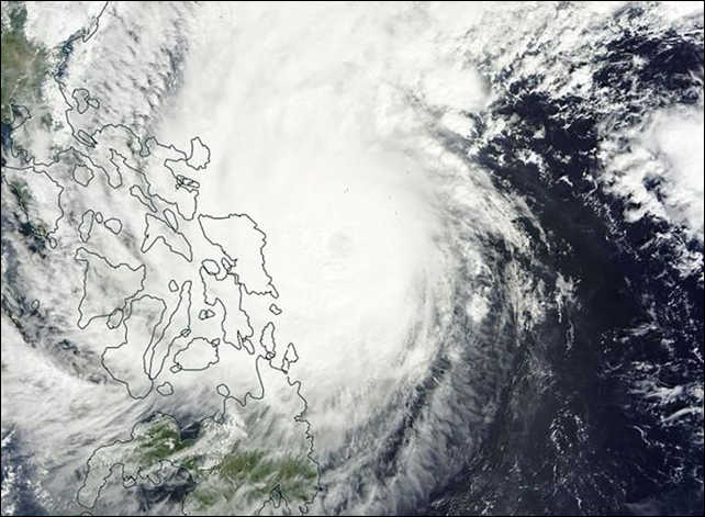Satellite view of Typhoon Hagupit hitting the Philippines on 6 December 2014. Photo: NASA / AFP