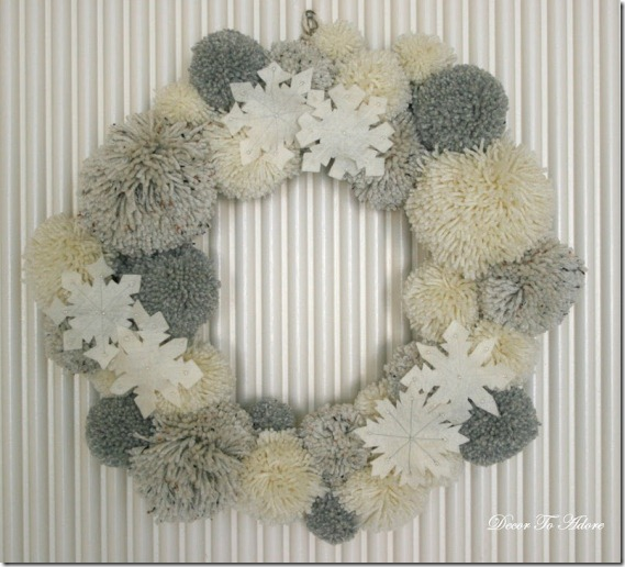 Winter wreath--White yarn pom pom wreath