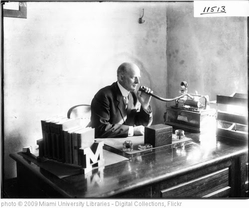 'Dean Harvey C. Minnich talking into Dictaphone 1912' photo (c) 2009, Miami University Libraries - Digital Collections - license: http://www.flickr.com/commons/usage/