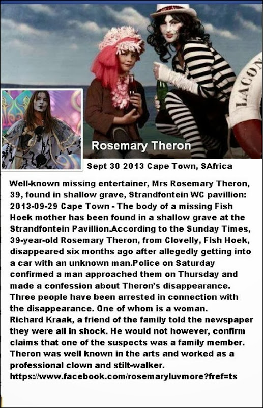 TheronRosemaryClownAndStiltWalkerEntertainerFoundMurderedShallowGraveSTrandfonteinWCSept302013