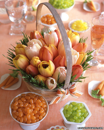 A simple way to create a memorable centerpiece for your Easter table is to arrange flowers in a basket instead of a vase and I love that the tulips look like easter eggs. (marthastewart.com)