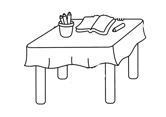 Dibujos para colorear mesas for Comedor para dibujar