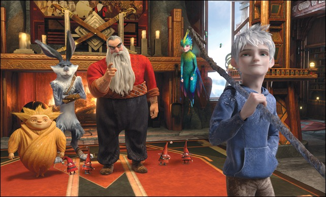 (Left to right) Sandman, Bunnymund (Hugh Jackman), North (Alec Baldwin), Tooth (Isla Fisher) and Jack Frost (Chris Pine) band together to defeat Pitch (Not pictured / Jude Law) in DreamWorks Animation's RISE OF THE GUARDIANS to be released by Paramount Pictures. <br /><br />