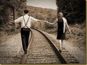 couple-train-old-timey-photo-railroad-balance-walking