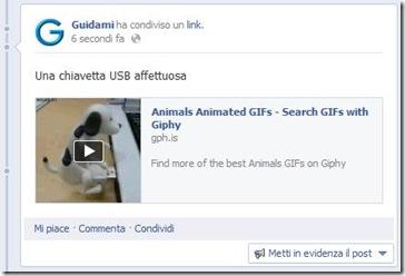 Giphy GIF animata pubblicata su Facebook