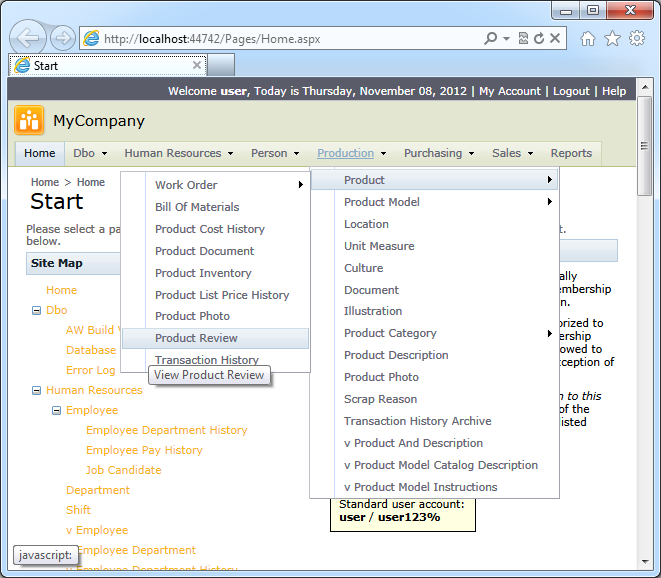 Adventure Works sample with 'Standard Multi-Level' navigation menu created with Code On Time web application generator