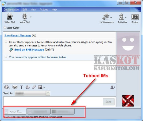 Yahoo Messenger Tabbed IMs