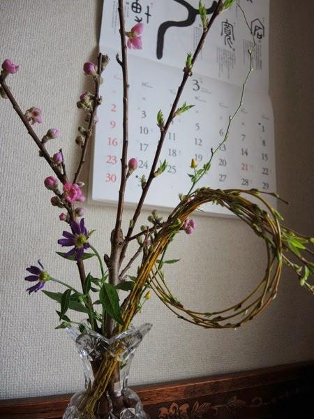 万葉植物:桃・枝垂柳・山吹・嫁菜