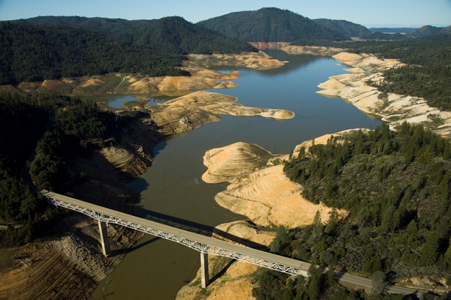 Lake Oroville, South Fork of Feather River, 12 March 2009, looking West. This photo was shot from just in over of the Lumpkin Road Bridge. Note the amount of water in the riverbed. water.ca.gov
