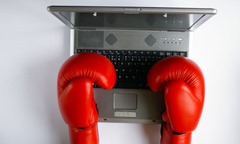 typing with boxing gloves