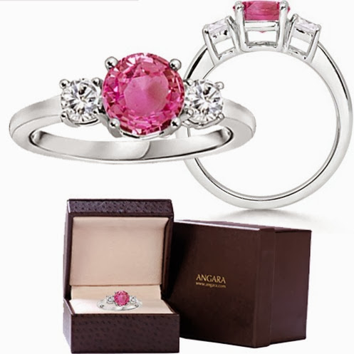 Round Pink Sapphire and Diamond Three Stone Ring