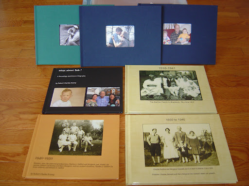 Three Snapfish Photo books (rear); 2 Blurb books (left) and 2 Shutterfly Photo books.