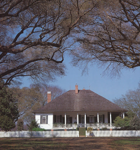 A massive umbrella roof on the Cherokee Plantation.