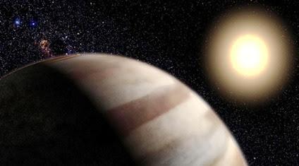 ilustração do exoplaneta Tau Boötis b ao redor de sua estrela