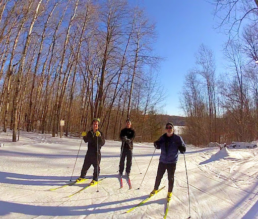 Nathan, Kyle and Paul at top of Suicide hill. Fast conditions but good springlike skiing. All skate trails groomed this morning.